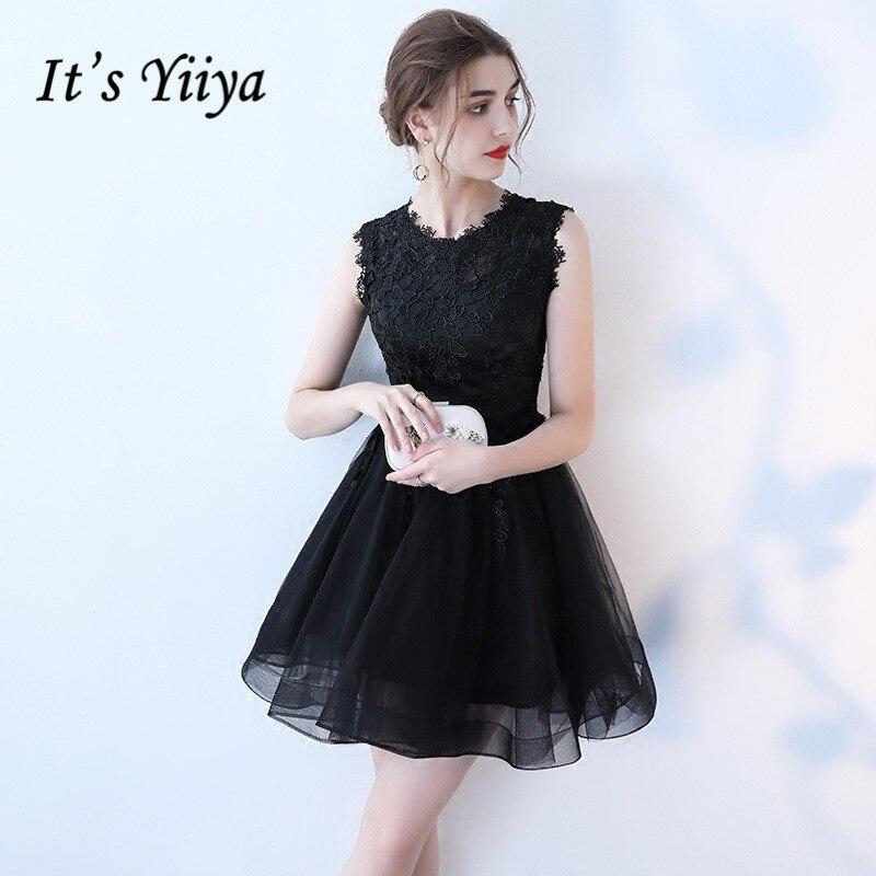 It's YiiYa Fashion O-Neck Dresses Vintage Appliques Dress Sleeveless Little Black Frock LX397
