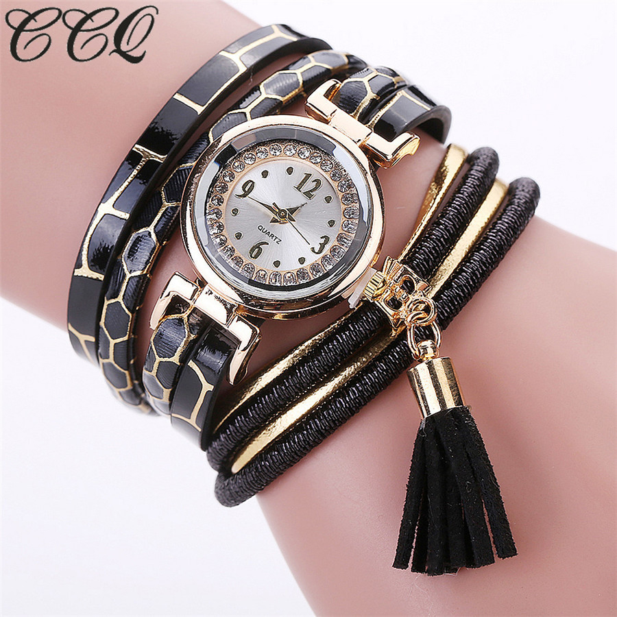 CCQ Brand Fashion Casual Women Rhinestone Watch Braided Leather Bracelet Quartz Watch Gift Relogio Feminino Gift 2101 braided rhinestone strand bracelet watch