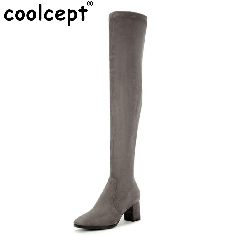 Coolcept Women Real Leather Elastic Boots Women Thick High Heel Over Knee Long Boots Women Square Toe Thigh High Botas Size35-39 avvvxbw 2016 new brand long boots fashion elastic over the knee boots shoes woman square heel genuine leather thigh high boots