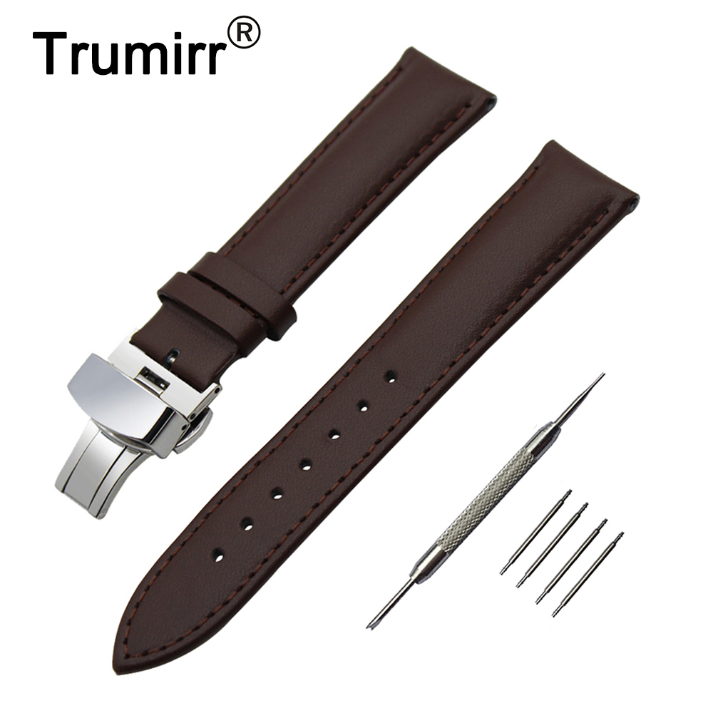 18mm 20mm 22mm 24mm Genuine Leather Watch Band for Armani Butterfly Buckle Strap Wrist Belt Bracelet Black Brown + Spring Bar 20mm 22mm 24mm genuine leather watch band quick release strap for diesel belt wrist bracelet black brown blue red spring bar
