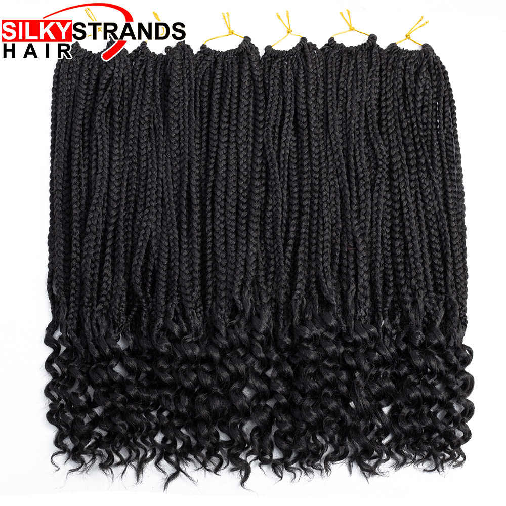 Synthetic Small Box Braids Curly End Crochet Braid Silky Strands Crochet Box Braids Hair Extensions