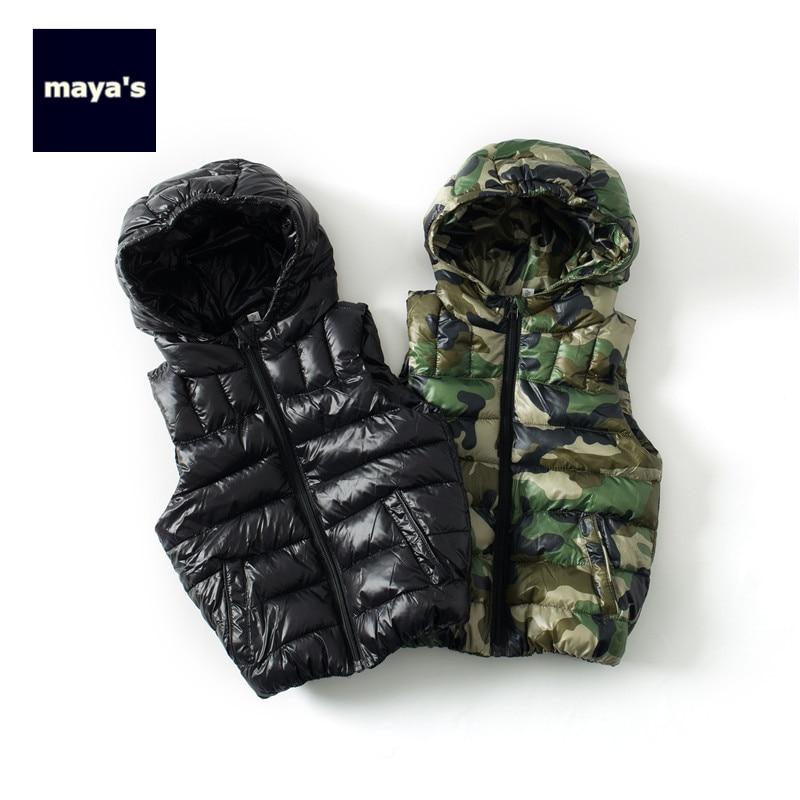 Mayas Winter Printed Warm Sleeveless Girls Waistcoat Autumn Camouflage Hooded Boys Vest Children Fashion Basic New Coat 81191
