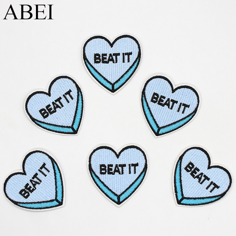 10pcs/lot Iron on Funny Patches Embroidered Heart-Shaped Stikcers Apparel Appliqued Jeans Sweater Coat Decoration Motif Badge