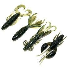 4 Uds. De señuelos de pesca de camarón suave, 4 tipos de Wobblers artificiales, aparejos de cebo suave de silicona, Crayfish / Spooky Shrimp Oxtail maggot