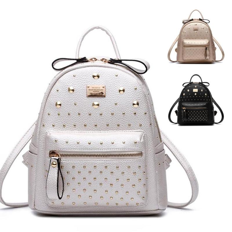 Lodogsow Fashion Backpack Girl College School Backpacks Pu Leather Mochila Escolar Bag Luxury Black Gold Silver Rucksack Women's