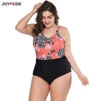 JOYMODE Swimwear 2018 New Plus Size ONE Pieces Printed Bandage Swimsuit Women Tankini Bathing Suits Large