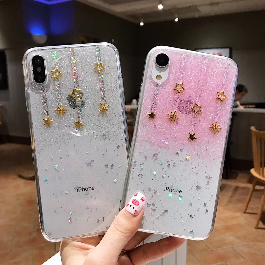 Fashion Glitter Meteor Stars Phone Case For Iphone XS Max XR Transparent Silicone Soft TPU Cover For Iphone 7 8 6 6s Plus X Case