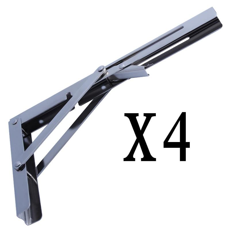4X Heavy Duty Polished Stainless Folding Shelf Bench Table Shelf or Bracket 11