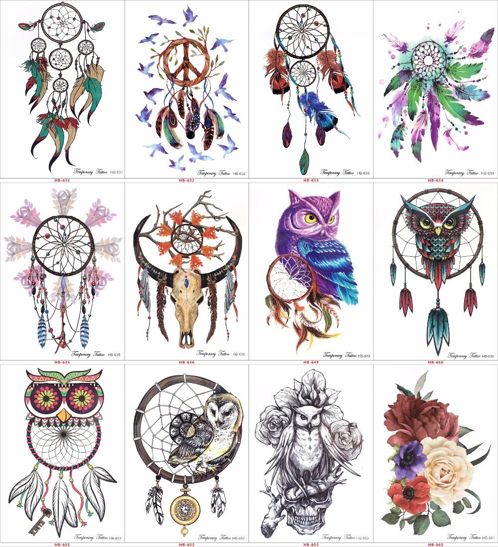Tatto Temporary Sticker Hb577 16pcs Tattoos Health Beauty Coloured Drawing Pattern Hb 1 2