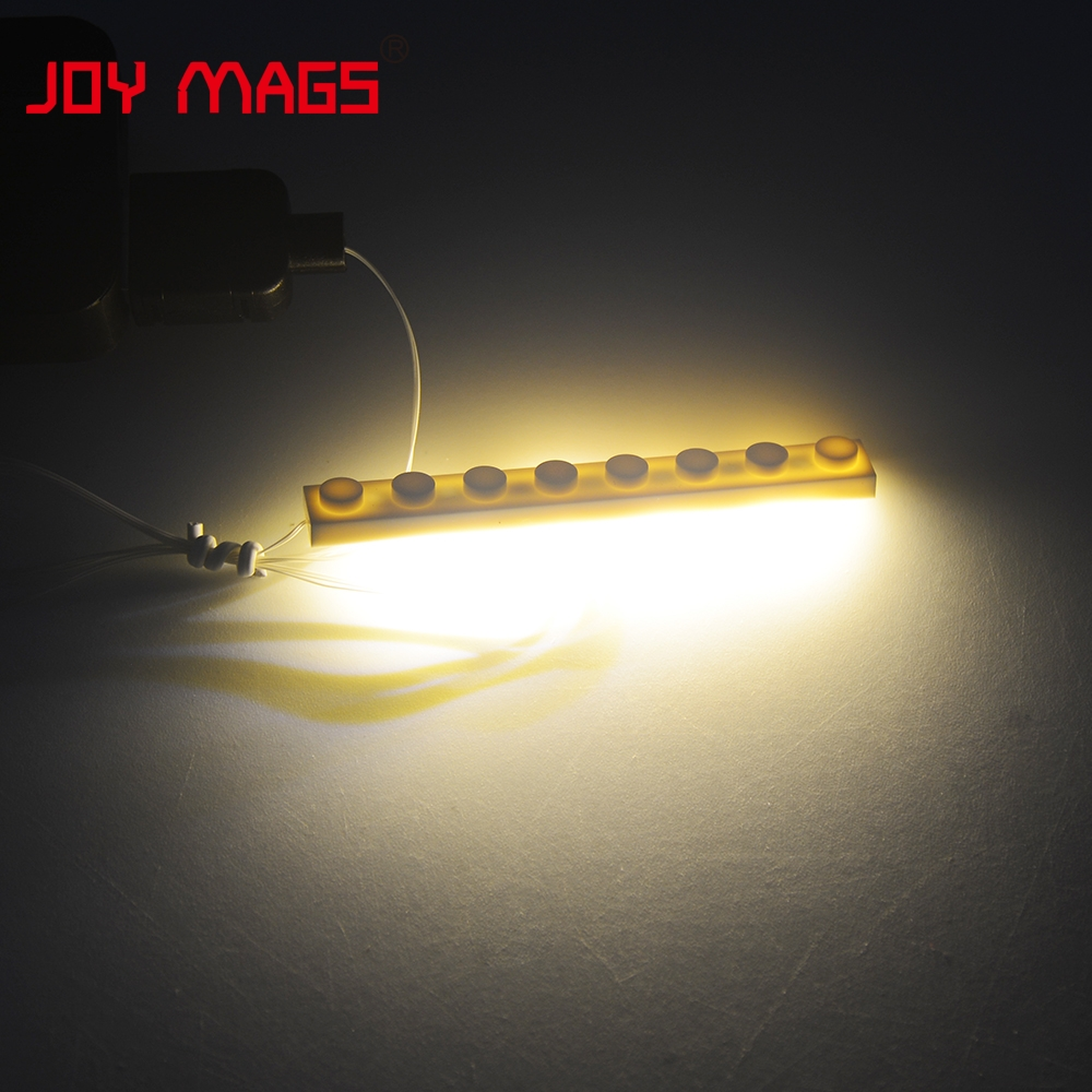 JOY MAGS LED Light Kit 1Pcs 1x8 Plate Light Accessory Color With Cool White/Warm White/Yellow/Green/Red/Blue For Building Blocks цена