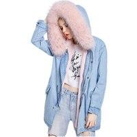 Зимняя джинсовая куртка пальто Для женщин натуральным лисьим меховой воротник куртка с капюшоном женские теплые с натуральным лисьим мехо