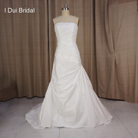 Free Shipping High Quality Famous Designer A Line Taffeta Insert Bra With Jacket Half Sleeve Wedding