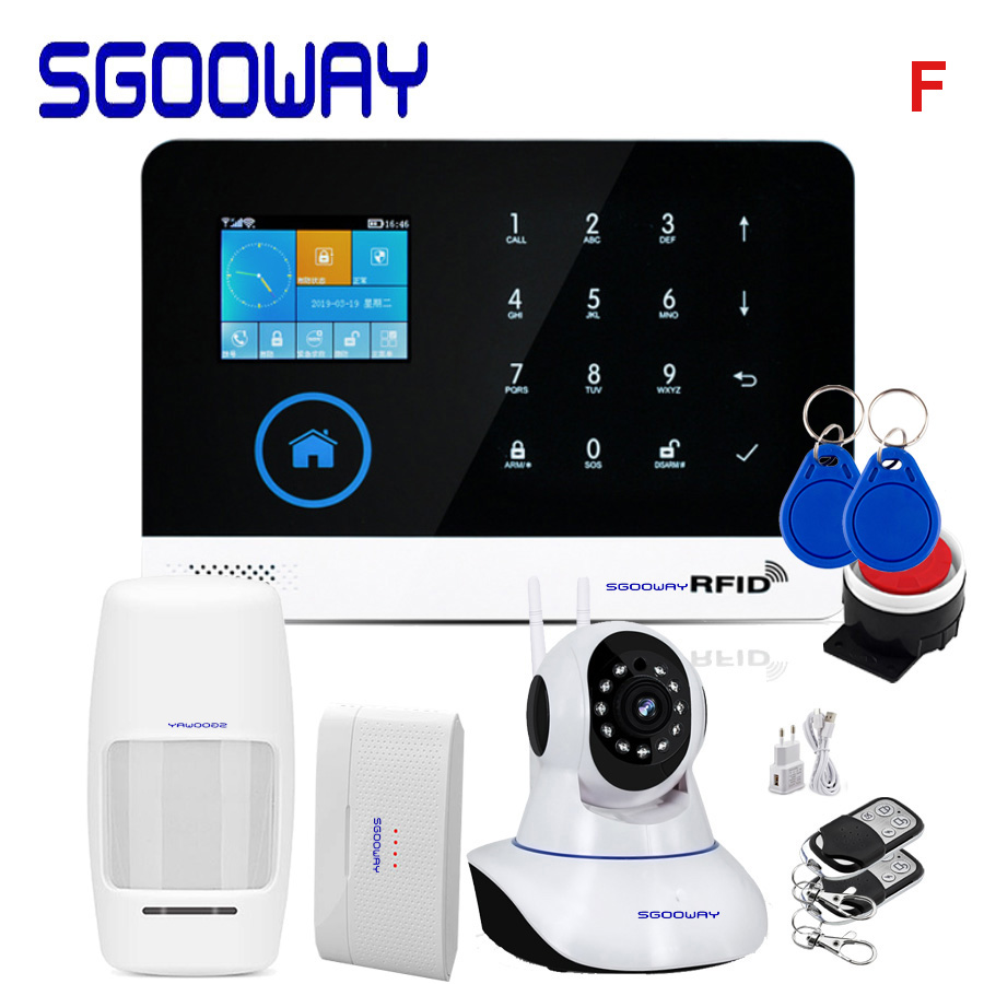 Sgooway Factory Wifi GSM GPRS Wireless Home Burglar Security Alarm System Integrated With WIFI IP Camera