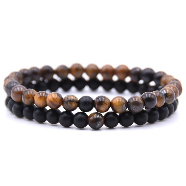 2pcs/set Natural Stone Mixing beads Bracelet men  1