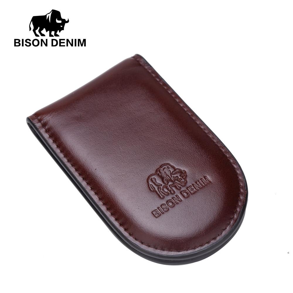 BISON DENIM luxury brand men Cowhide Genuine leather short Money Clip Wallets W9362-1Z bvp luxury brand weave plain top grain cowhide leather designer daily men long wallets purse money organizer j50