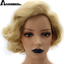Anogol High Temperature Fiber Short Body Wave Gold Blonde Bob Side Part Natural Hairline Synthetic Wig For Drag Queen adiors side part slightly curled short bob synthetic wig