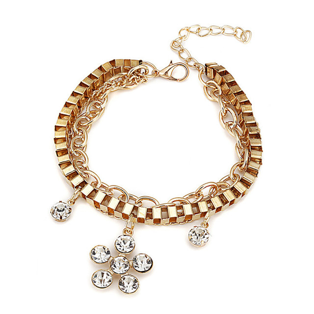 MINI order 10usd free shipping gold/silver plated charm chain bracelet women's fashion crystal flower pendant bracelet