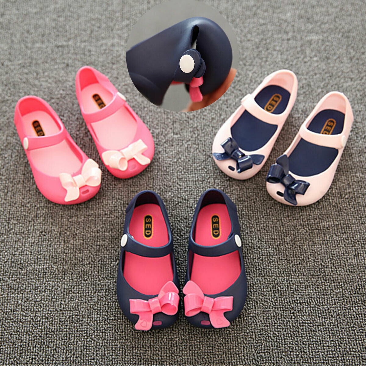 Infants Newborns Baby Girls Sandals Shoes Kids Non-Slip Plastic Bow Summer Buckle Shoes