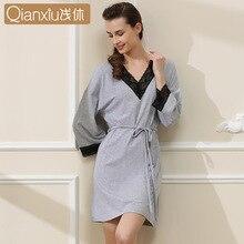 2016 Brand Summer Women Modal Lounge Sleepshirts Sexy Lace Sleepwear Female Three Quarter Sleeve V-neck Nightgown Free Shipping