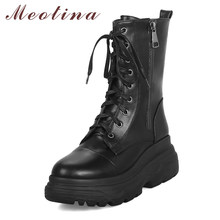 Meotina femmes chaussures hiver femme bottes Zip plate-forme mi-mollet bottes Wedge moto bottes chaussures femme noir taille 33-43(China)
