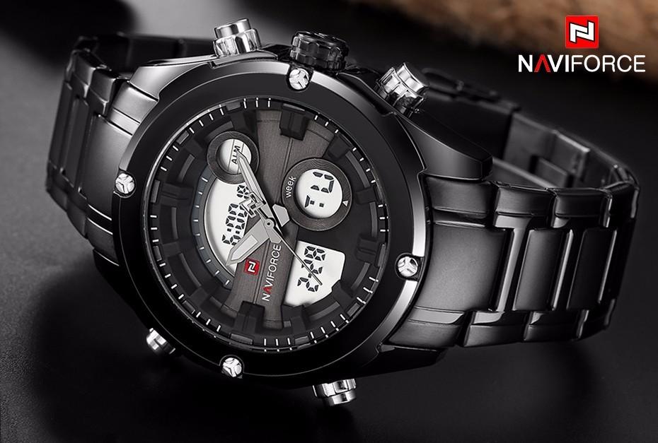 Top Luxury Brand NAVIFORCE Men Full Steel Sport Watches Men's Quartz Analog LED Clock Man Military Wrist Watch Relogio Masculino 1