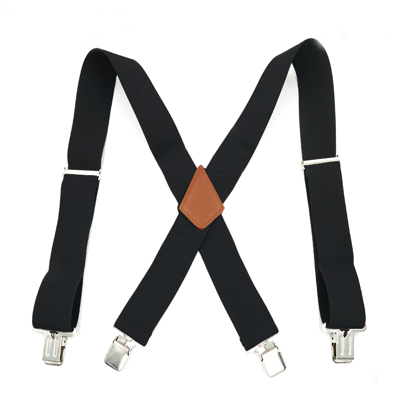 New Man's Suspenders  Leather Braces Hot Sale Strong 4clasps Casual Suspensorio Trousers Strap Gift For Father