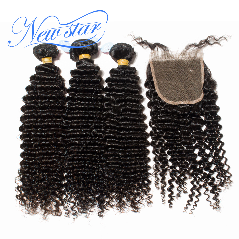 New Star Brazilian Curly Virgin Hair Weaving 3 Bundles Extension With A 4x4 Lace Closure 100% Human Hair Weave And Closure Deal