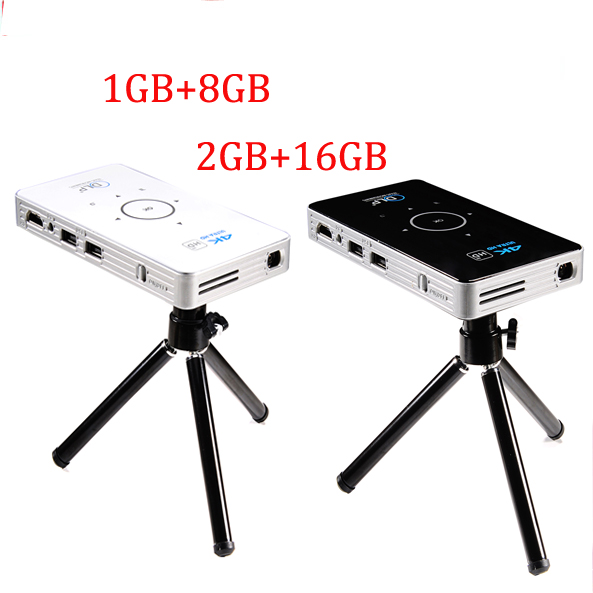 4 k dlp mini proiettore tascabile C6 50 lumen Android 6.0 quad core dual band wifi vs h96-p Bluetooth pocket cinema 5000 mAh batteria