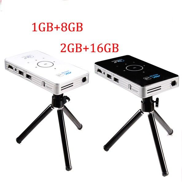 4 karat dlp mini taschenprojektor C6 50 lumen Android 6.0 quad core dual band wifi vs h96-p Bluetooth pocket cinema 5000 mAh batterie
