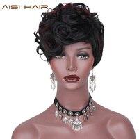 AISI CHEVEUX En Face De La Rouge Strié Synthétique Perruques Courtes Pour Les Femmes Noires Bouclés Afro-Américain Cheveux
