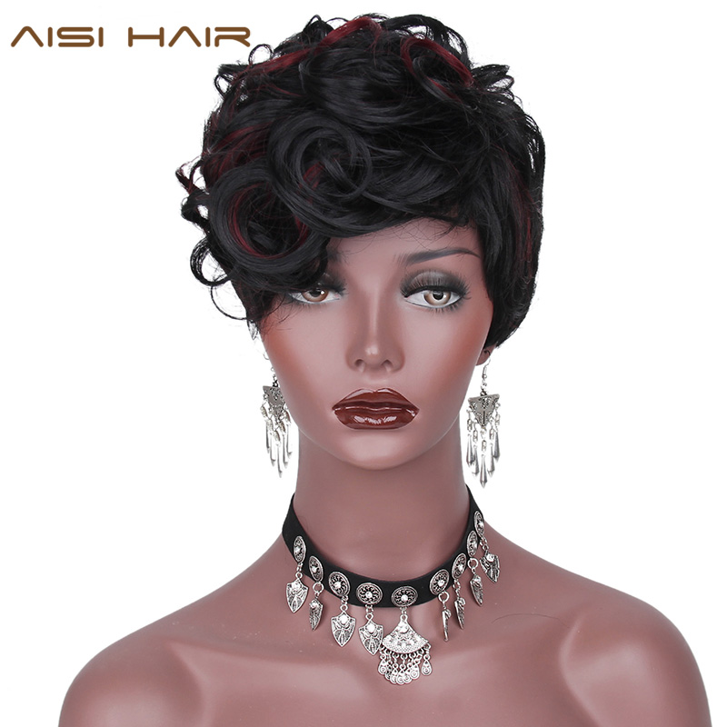 AISI HAIR In Front Of The Red Streaked Synthetic Short ...