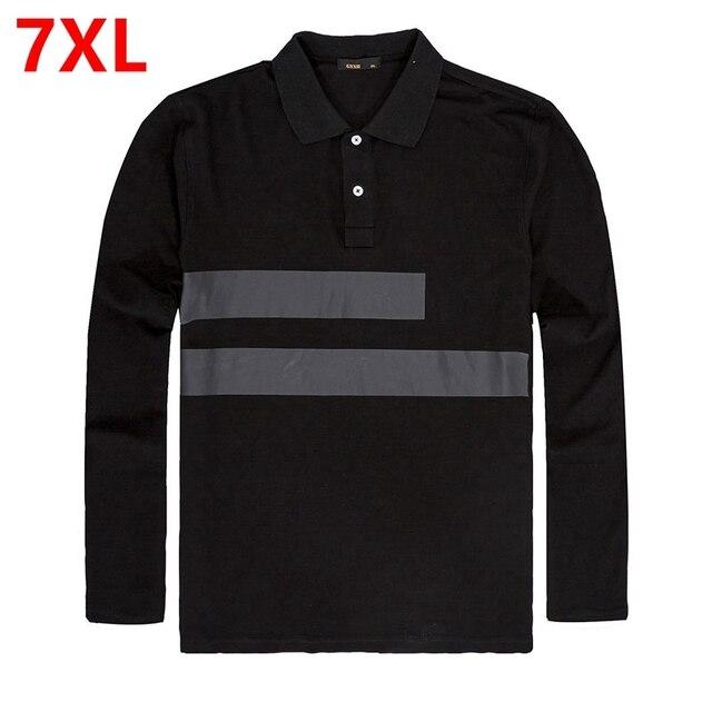 Весна и осень новый большой размер Мужская С Длинным Рукавом плюс размер Черный XL МУЖСКАЯ рубашка ПОЛО плюс жира 6XL 7XL