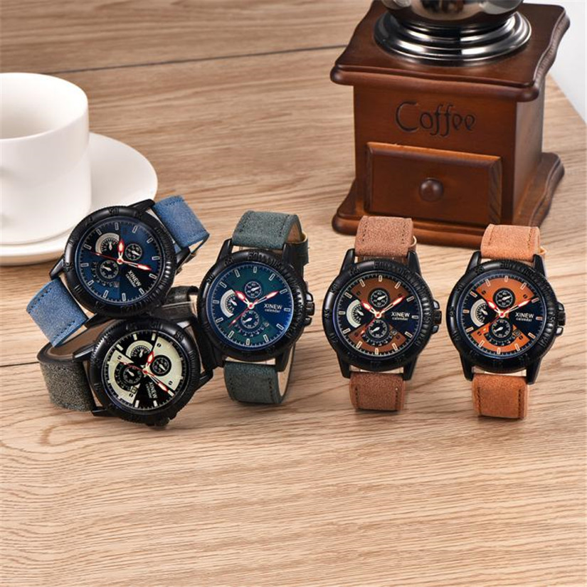 Men Watches Top Brand Date Day Leather Band Sport  Analog Quartz Army Militar Wrist Watch Relogio Masculino High Quality 4- 2016 brand new date day men model design fashion trends quality rubber band japan quartz black watch relogio masculino
