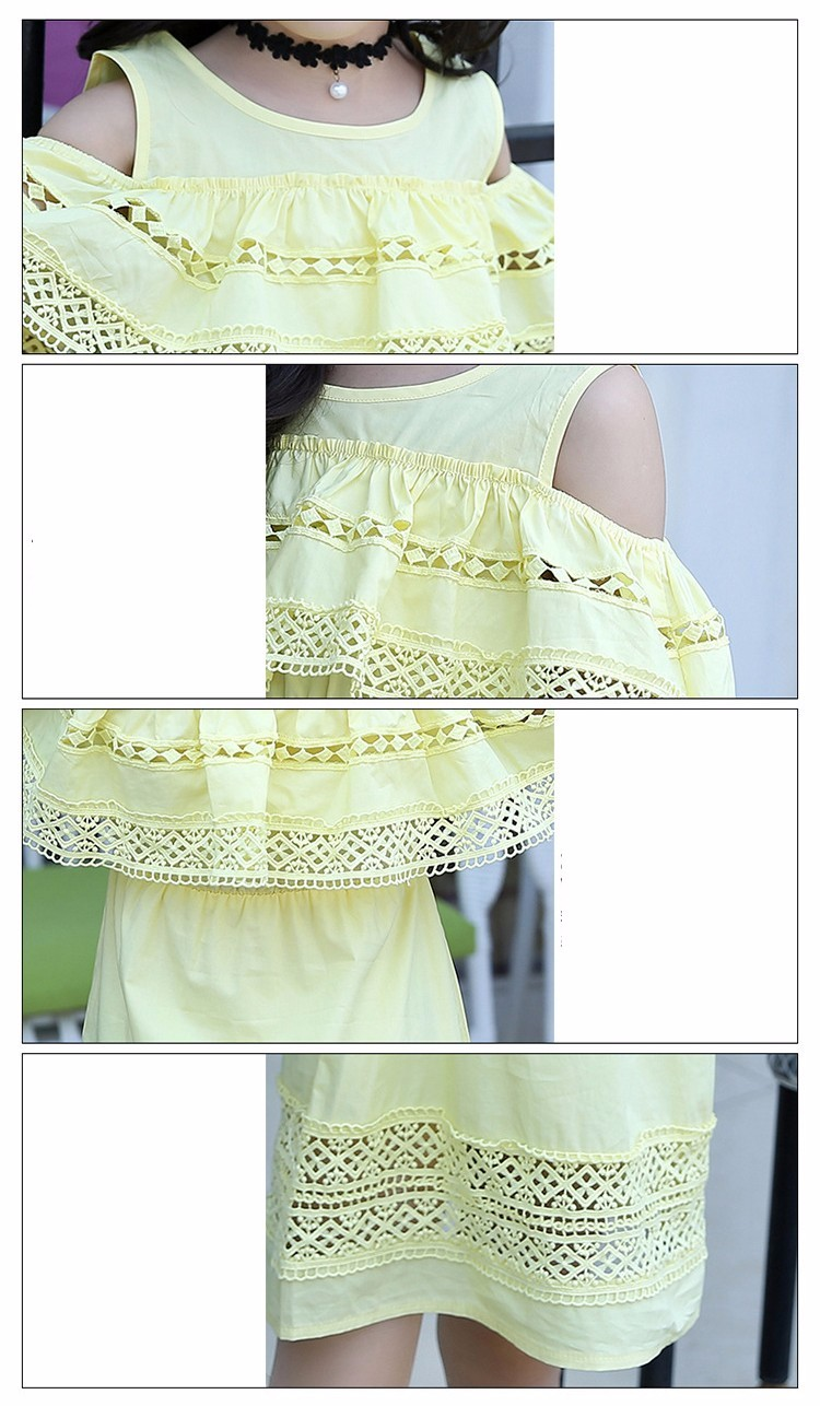 Kids Girls' Dress with Lace Summer 2018 New Kids Clothes for Girls Clothes Cotton Off Shoulder Dress White Pink Yellow Vestido 17