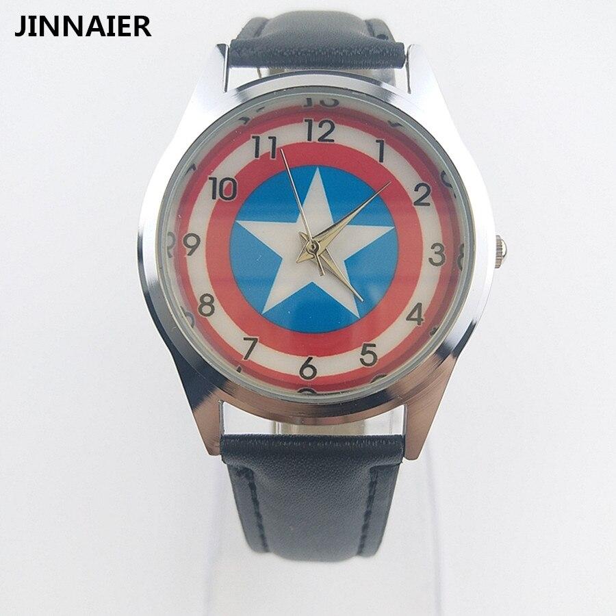 2017 новое поступление мультфильм Дизайн Капитан Америка щит Для мужчин ребенок модные черные часы кварцевые наручные Часы
