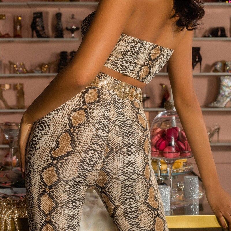 Simenual Sexy snake print two piece set strapless crop top and biker shorts high waist push up tracksuit women sets streetwear 2