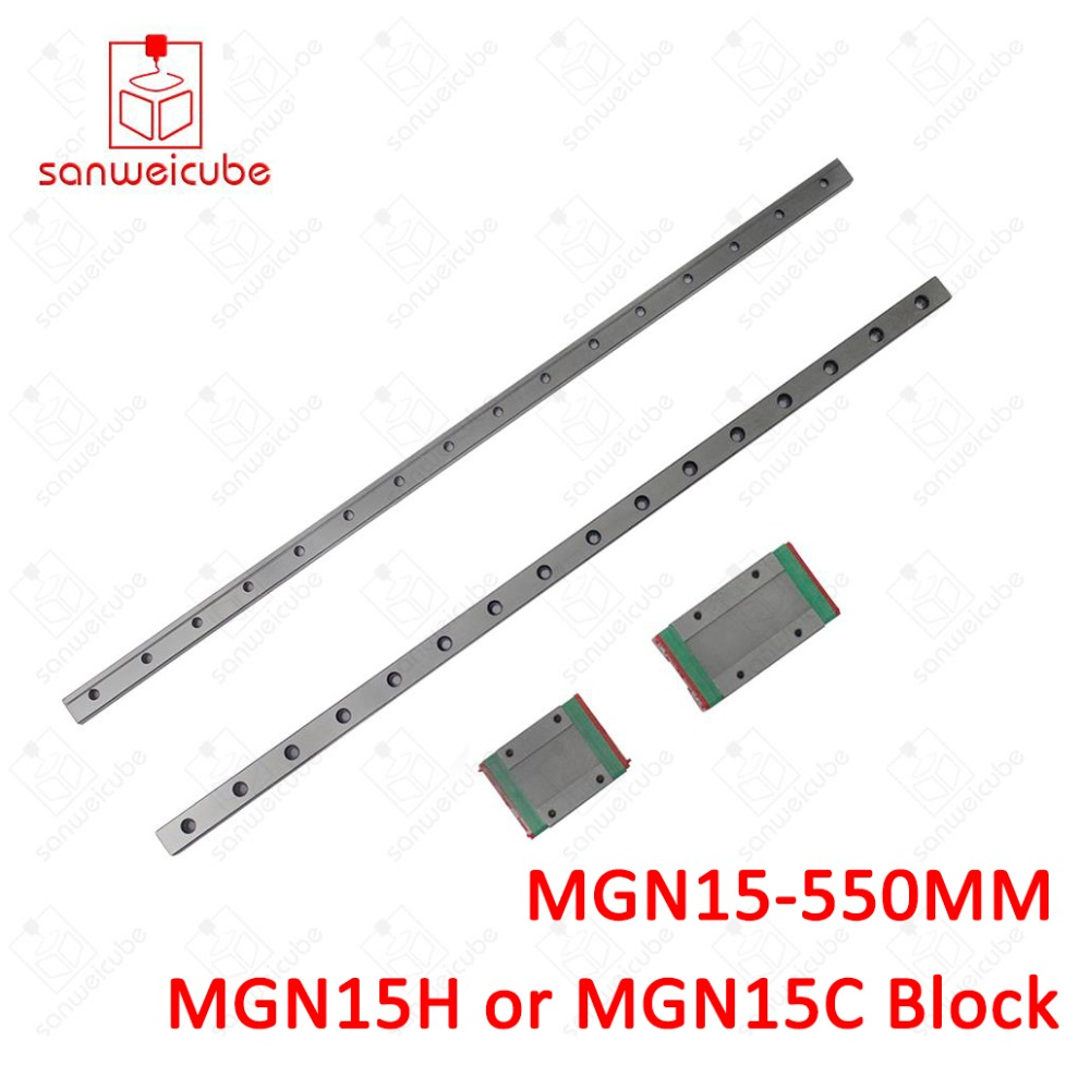 15mm for Linear Guide MGN15 550mm L= 550mm for linear rail way + MGN15C or MGN15H for Long linear carriage for CNC X Y Z Axis 15mm linear guide mgn15 l 500mm linear rail way mgn15c or mgn15h long linear carriage for cnc x y z axis