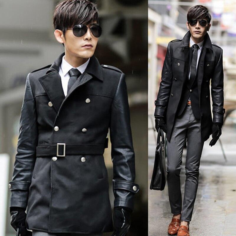 59b8e015ce29 2015 new autumn winter fashion men s double breasted jacket coat Korean slim  long trench coat leather sleeves men long overcoats