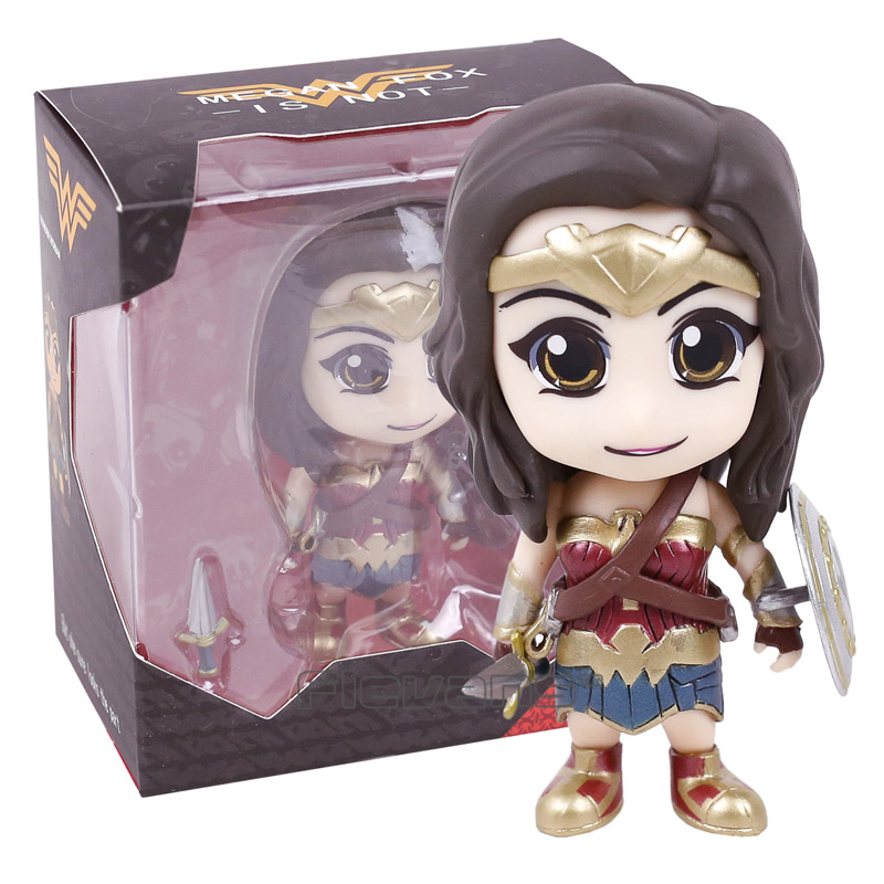 DC Super Hero Wonder Woman Bobble Head Q Version PVC Action Figure Collectible Model Toy 2015 new free shipping marvel super hero x men wolverine pvc action figure collectible toy 1231cm with box