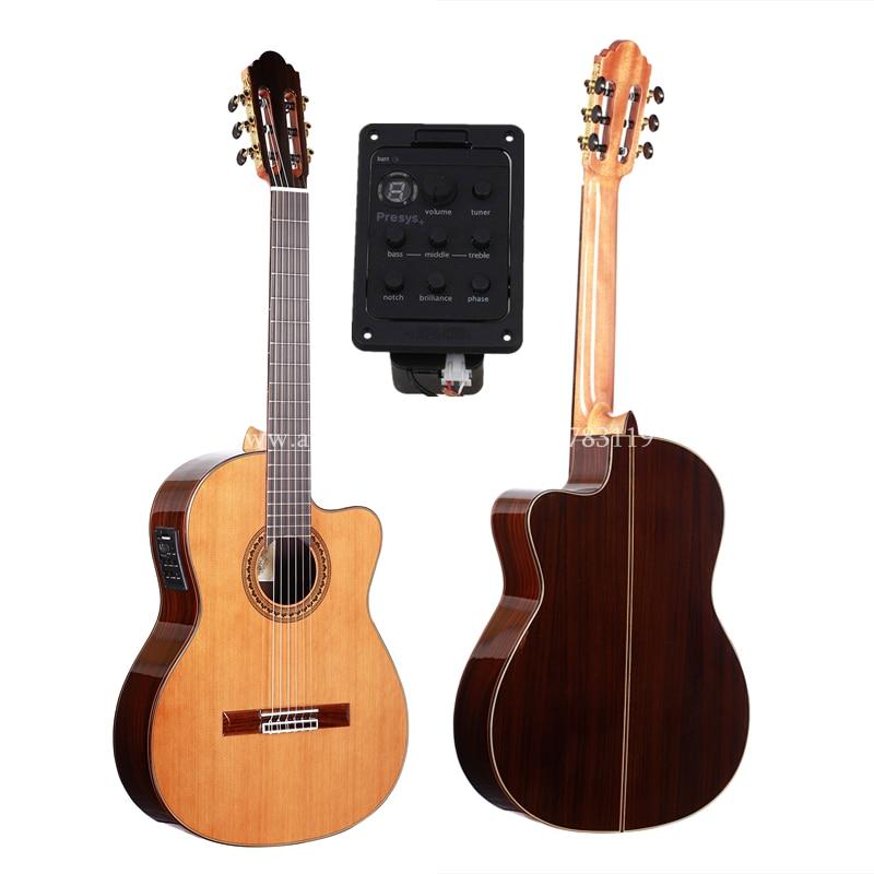 Guitarra Española eléctrica hecha a mano de 39 pulgadas, Cedro sólido de VENDIMIA/guitarras acústicas de Rosewood + cuerdas, guitarra clásica