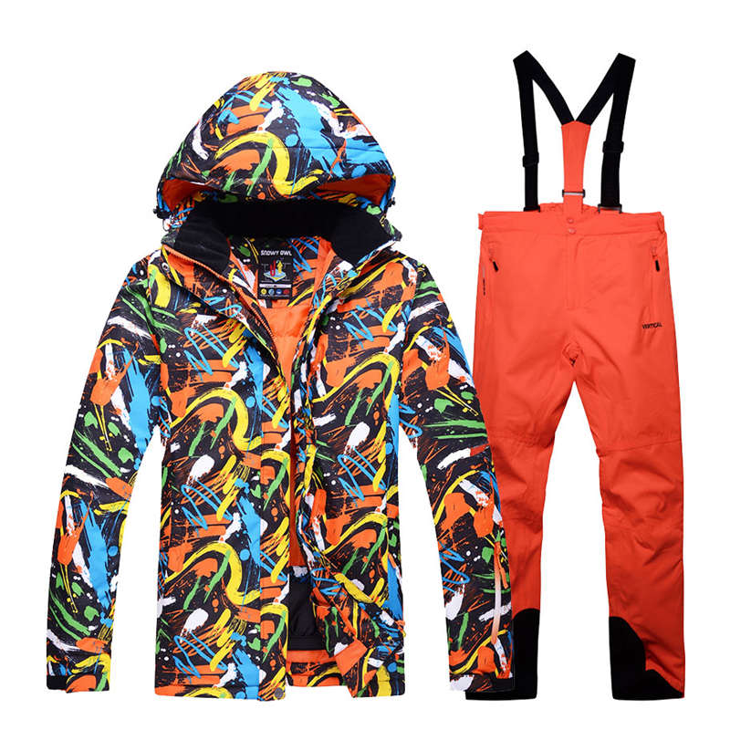 Men Snow clothes outdoor sports skiing suit sets snowboarding costumes waterproof thick -30 winter Suit sets jackets +bibs pants