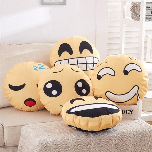 Round Yellow Cute Emoji Smiley Emoticon Pattern Home Decorative Adorable Round Yellow Decorative Pillow