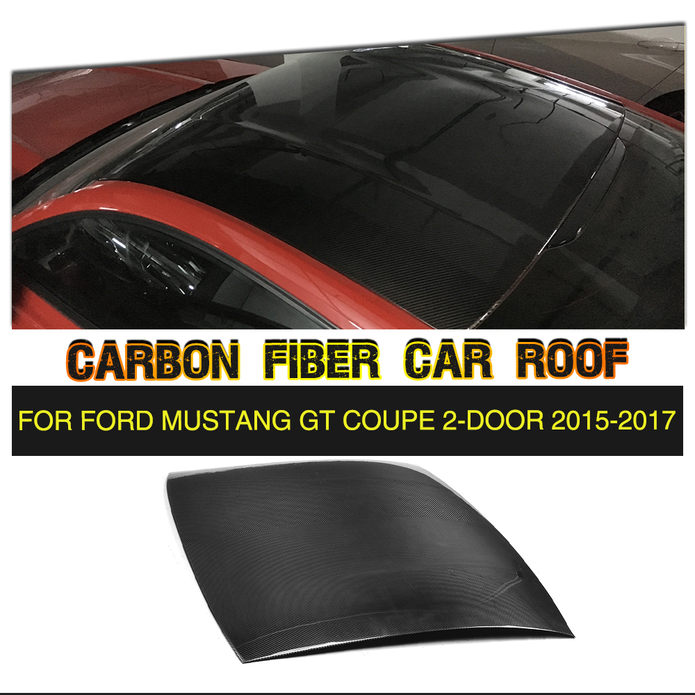 Carbon Fiber Auto Roof Cover Trim for Ford Mustang Coupe 2-Door 2015-2017 partol black car roof rack cross bars roof luggage carrier cargo boxes bike rack 45kg 100lbs for honda pilot 2013 2014 2015