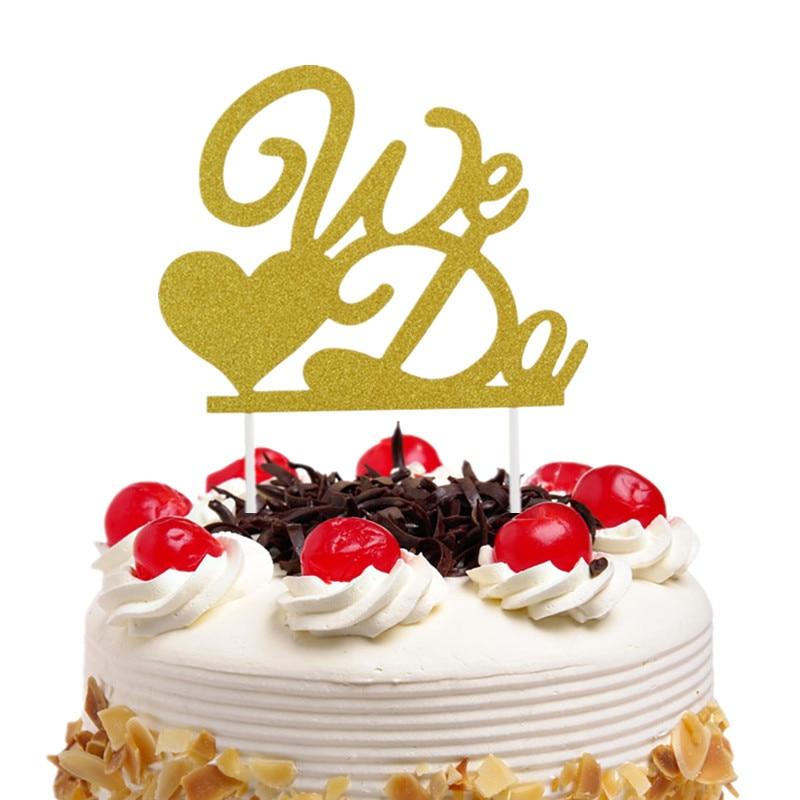 20pcs/lot We Do Wedding Cake Topper Love Heart Glittler Flags Engagement Party Baking Decor