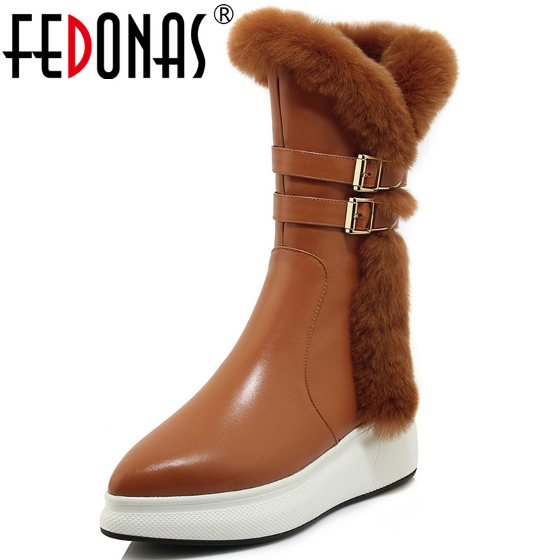 FEDONAS New Arrival Women Mid-calf Boots Wedges High Heels Buckles Long Snow Shoes Woman Platforms Buckles High Martin Boots стоимость