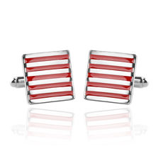 1 Pair Fashion Black/Red Enamel Stripe Square Silver Cufflinks Men High Quality Wedding&Bussiness Style French shirt Cuff links(China)