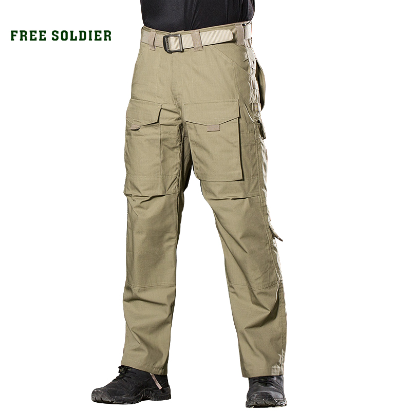 FREE SOLDIER Outdoor Sports Tactical Military Men's Pants Multi Pockets Trousers free soldier cross bar gun grey