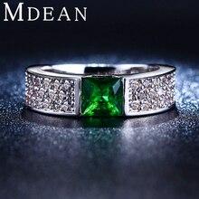 Изумруд mdean bague бриллиантами обручальные cz позолоченные кольца зеленый изделия ювелирные