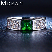 MDEAN   Rings for Women Green White Gold Color Women Rings AAA Zircon Jewelry   Wedding Fashion Size5 6 7 8 9 10MSR210