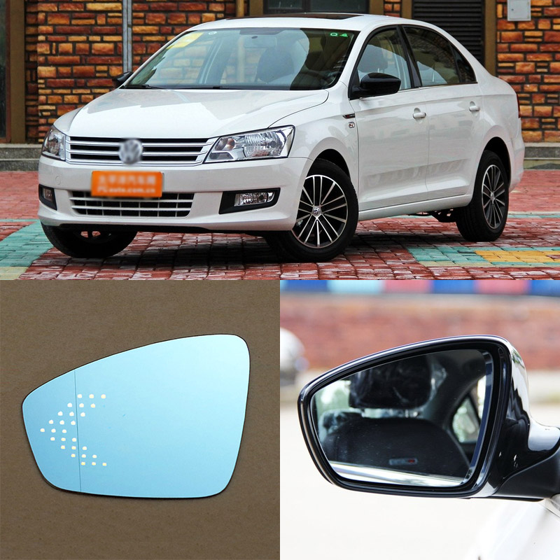 For Volkswagen Santana Brand New Car Rearview Mirror Blue Glasses LED Turning Signal Light with Heating for volkswagen sagitar brand new car rearview mirror blue glasses led turning signal light with heating